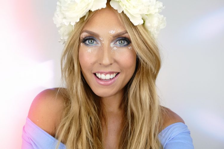 Snygg Midsommar makeup med blommor