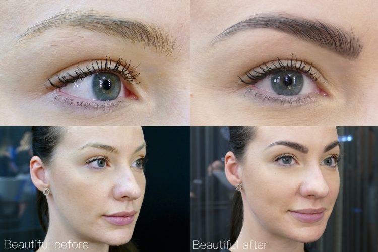 Färgade ögonbryn före och efter