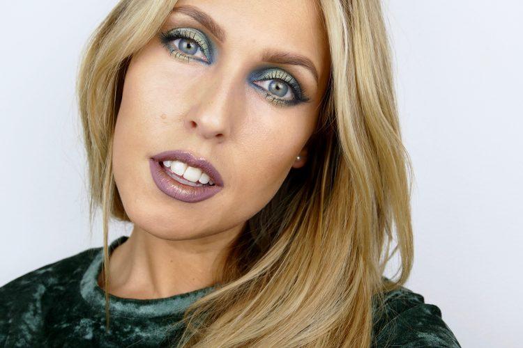 Grön blå makeup