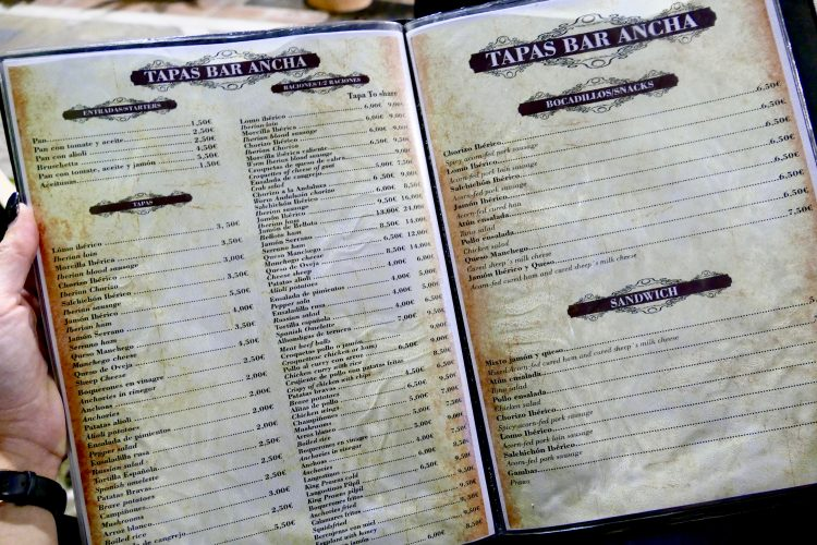 Tapas Café Bar Ancha Marbella meny