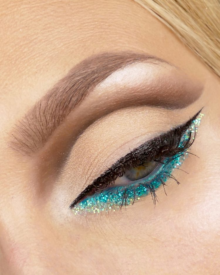 Cut crease makeup glitter eyeliner