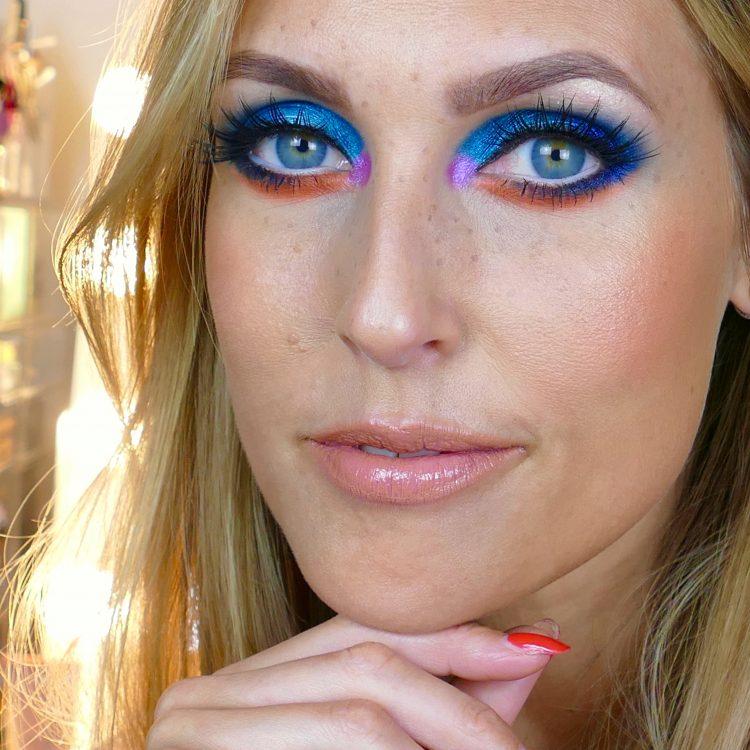blå orange makeup