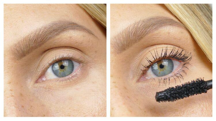Före och efter mascara Caution