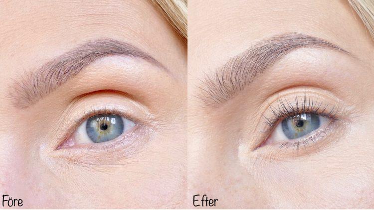 före och efter testar lash lift