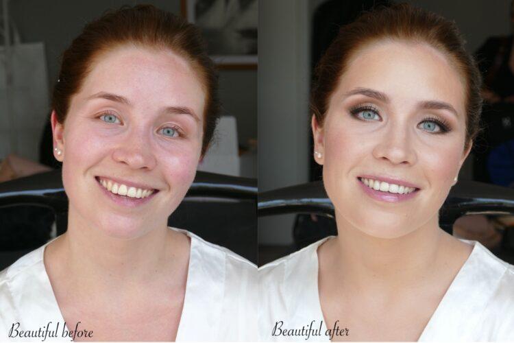 före och efter bröllopsmakeup